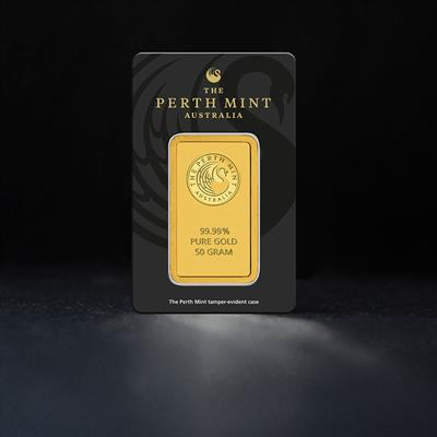 50g Minted Gold Bar Perth Mint