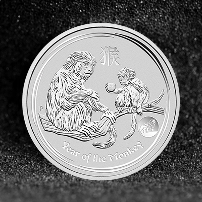 1oz Silver Coin 2016 Monkey w Lion Privy - Perth Mint